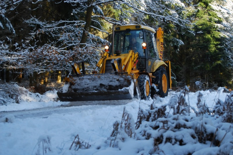 JCB clearing the course